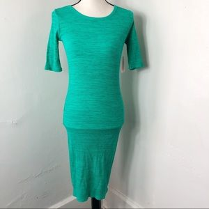 NWT LuLaRoe Green Black Julia Dress XXS